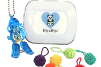 Notion Tin with Coloured Yarn Ball Stitch Markers and Animal Snips